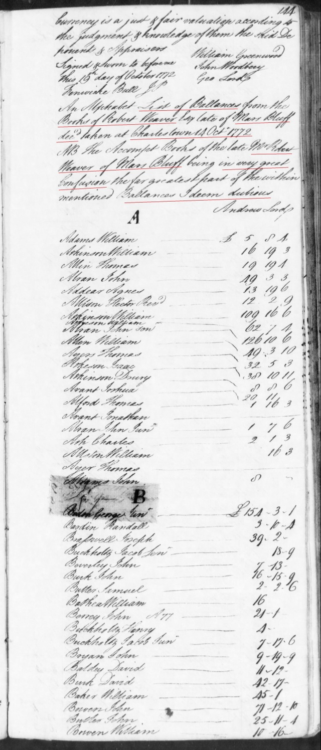 1772 Jacob Gowen on books of Robert Weaver in SC on Fold3 p1