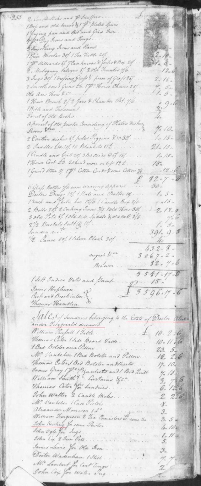 1773 James and William Gowen in Fitzgerald estate in SC on Fold3 p1