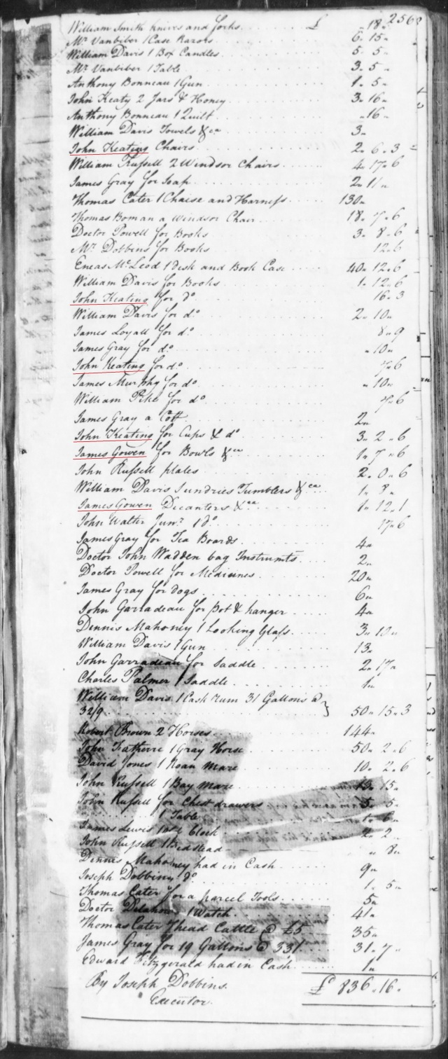1773 James and William Gowen in Fitzgerald estate in SC on Fold3 p2