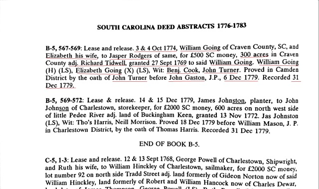1774 William Going and Elizabeth his wife convey 300 acres to Jasper Rodgers adj to Tidwell in Craven Co SC