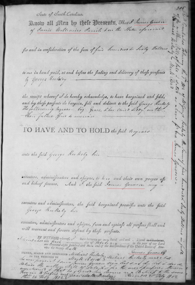 1802 James Gowen buying slave in SC on Fold3