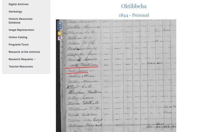 1844 Oktibbeha Co tax roll w William and James Watt
