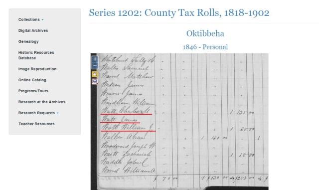1846 Oktibbeha Co tax rolls w Charles M and James and William J Watt