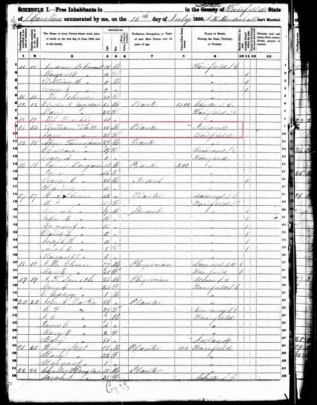 1850 US Census Fairfield w William Watt