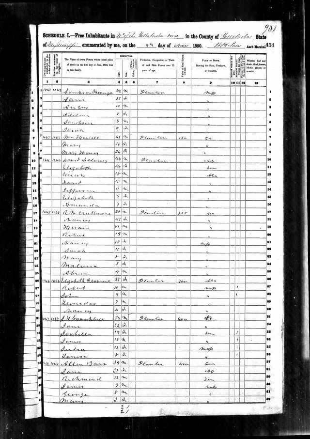 1850 US Census in Yalobusha Co w Robert N Provine