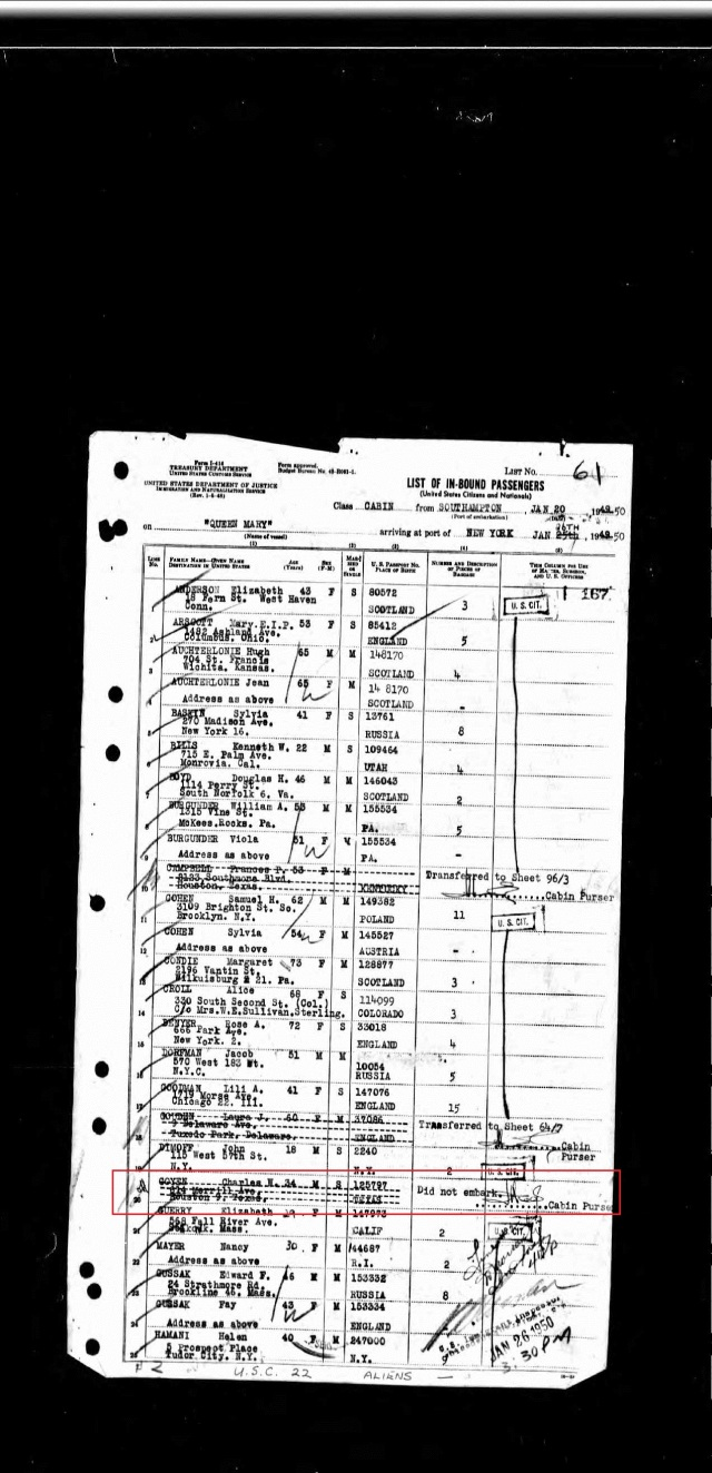 1950 New York passenger list