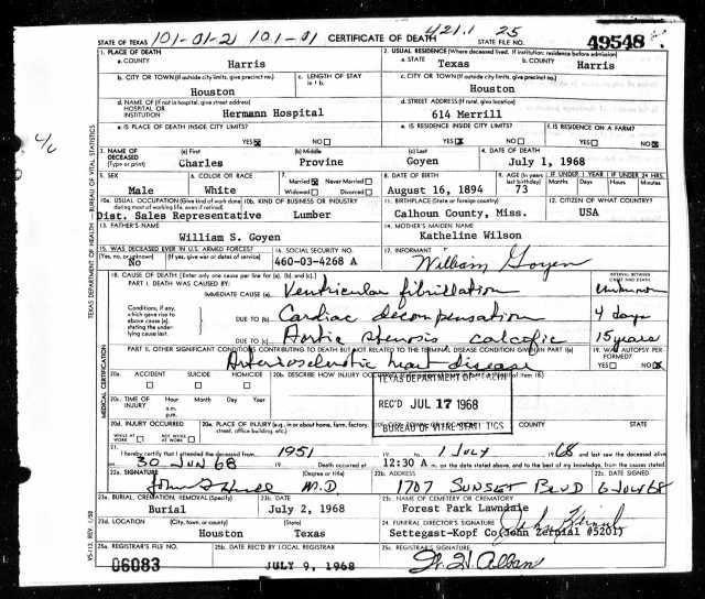1968 Death Certificate