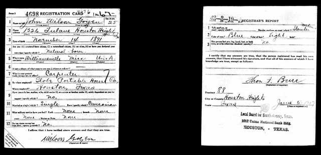 1917 World War I draft registration card