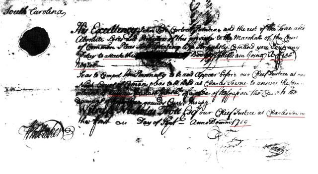 1719 judgment roll of William Going snipped and marked