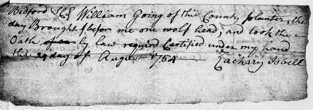 1754 Va Bedford Co William Going recvs bounty for wolf