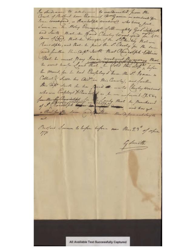 1771 Va Bedford Co Wm Gowen as wit in Isaac Woodward v Randolph Woodward case