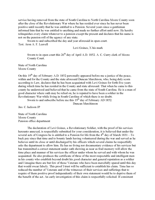 1780 SC Levi Goins pension application abstract_Page_2