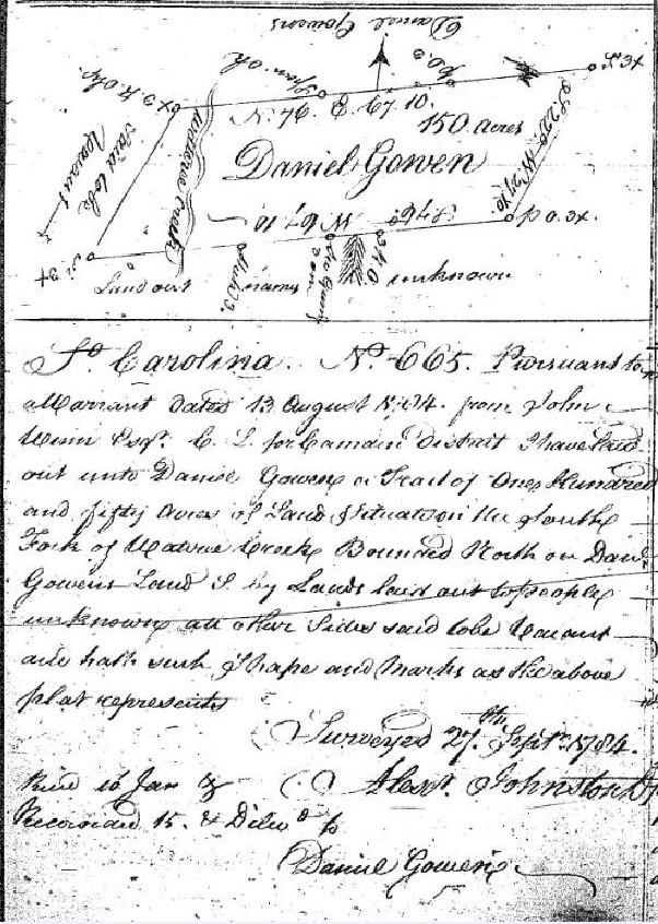 1784 Daniel Gowen plat