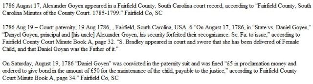 1786 Aug 19 Dnl and Alx Goyen paternity Fairfield Co SC