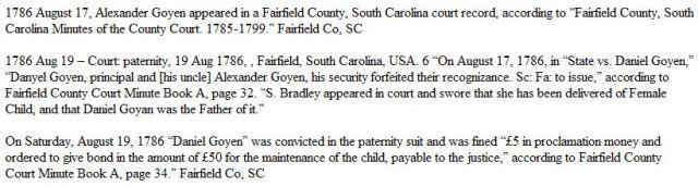 1786 Aug 19 Dnl and Alx Goyen paternity Fairfield Co SC