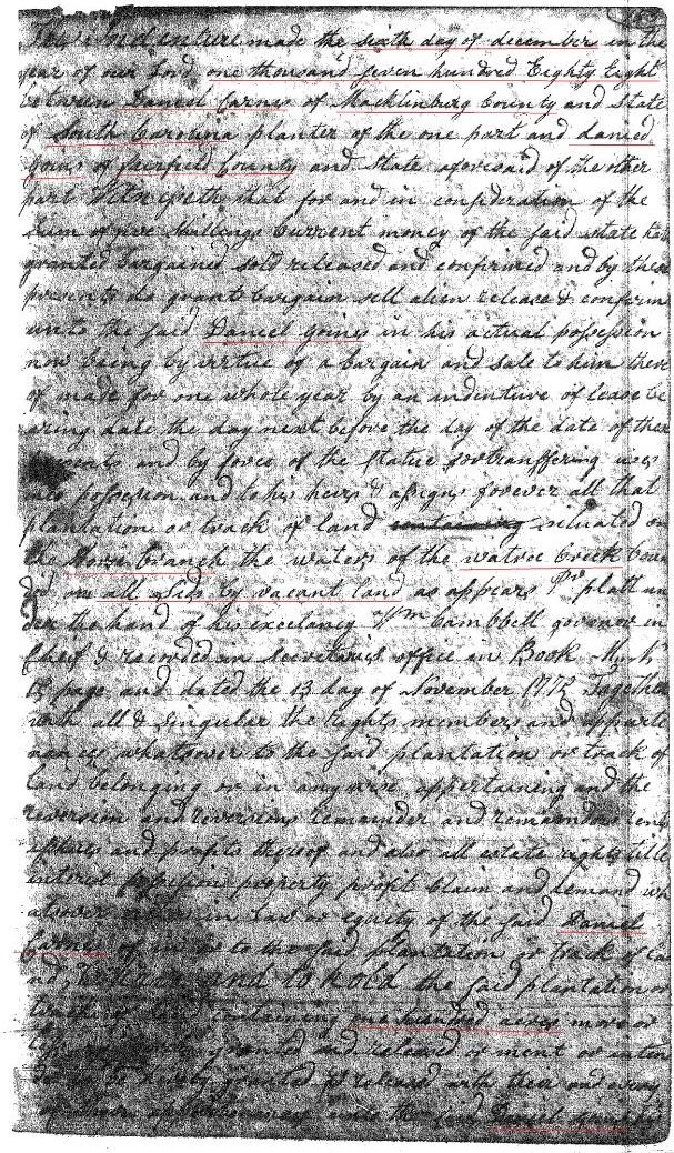 1788 Daniel Gowen from Daniel Carns p1