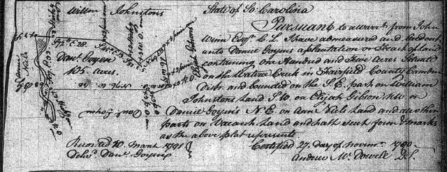 1790 Goyen, Daniel plat survey in Fairfield SC snipped