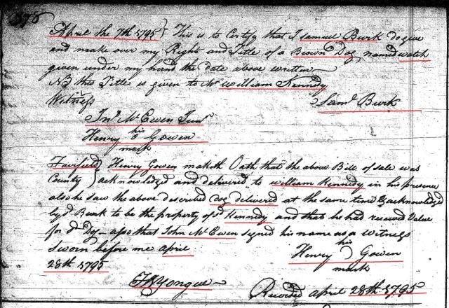 1795 Deed_I_0378a Samuel Burk conveys brown dog to Henry Gowen Fairfield SC marked snip