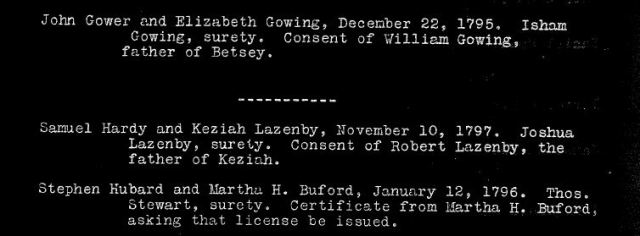 1795 Va Bedford Co Dec 22 Elizabeth Gowing m John Gower w Isham Gowing surety, consent of William Gowing father of Betsey