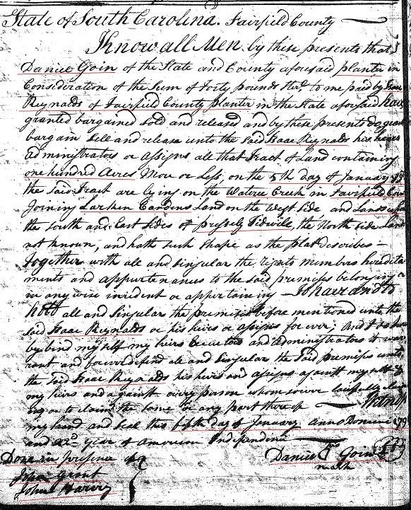 1798 Danl Going to Isaac Reynolds Fairfield SC 1