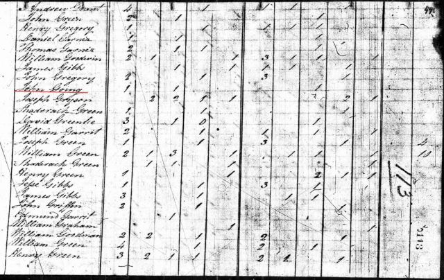 1800 US Census Rutherford Co NC w John Going