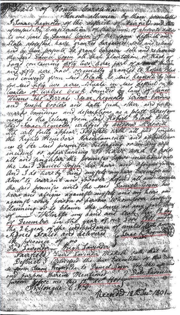 1801 Isaac Reynolds to Daniel Goyen p1