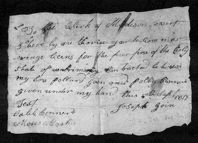 1817 KY Madison Co Joseph Goin giving his son Pollard Goin for marriage to Polly Conner daughter of Caleb Conner p1