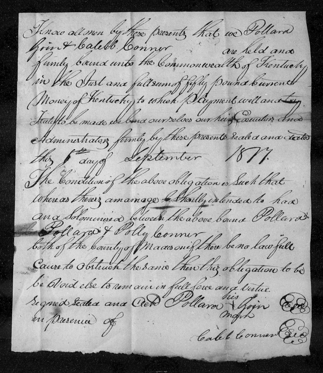 1817 KY Madison Co Joseph Goin giving his son Pollard Goin for marriage to Polly Conner daughter of Caleb Conner p2