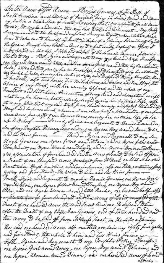 1818 Daniel Gowens handwritten will 1