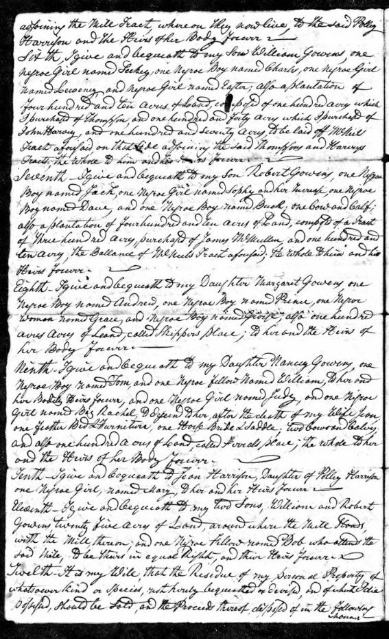 1818 Daniel Gowens handwritten will 2