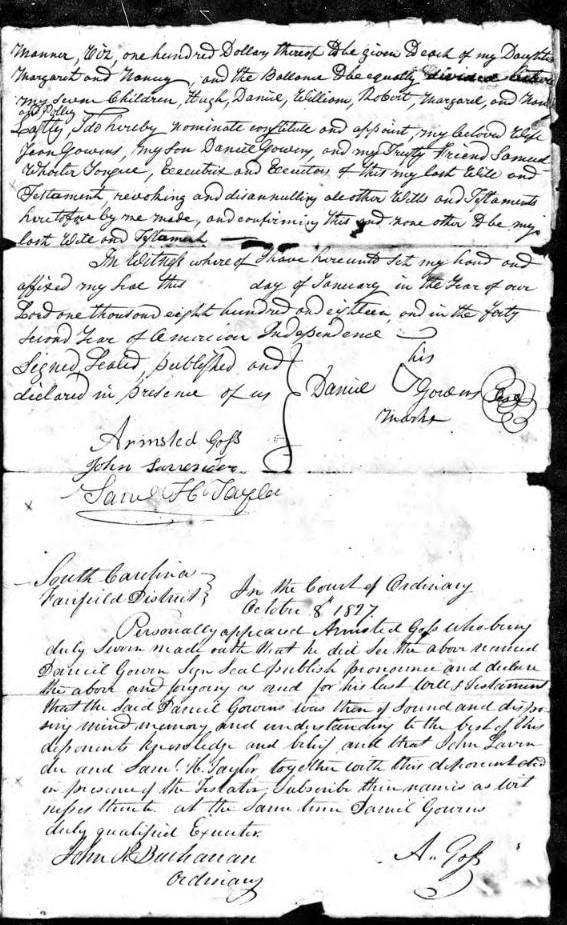 1818 Daniel Gowens handwritten will 3