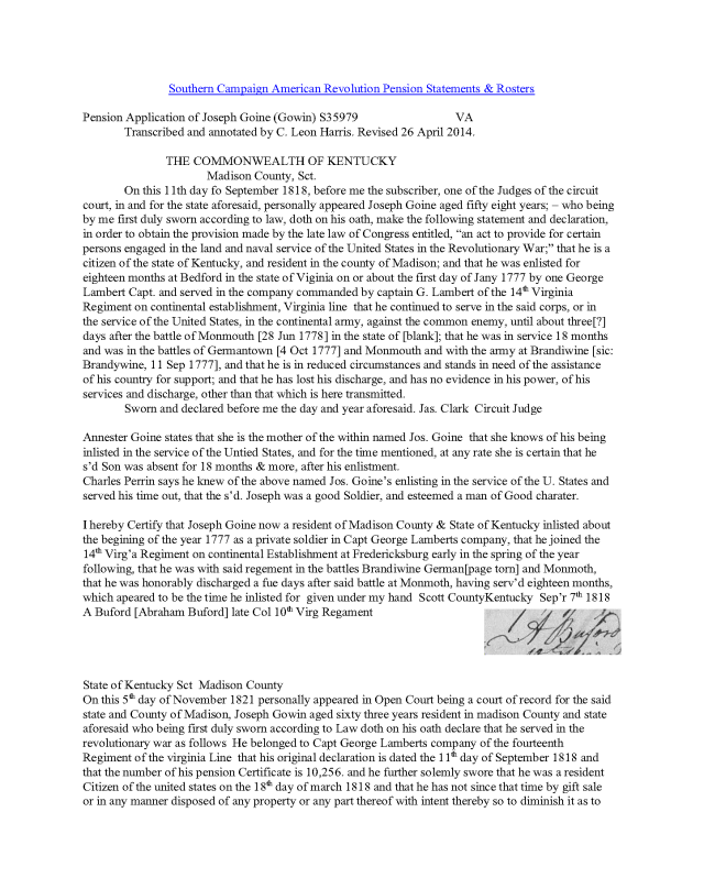 1818 KY Joseph Goine rev war pension app enlist in Bedford Co Va_Page_1