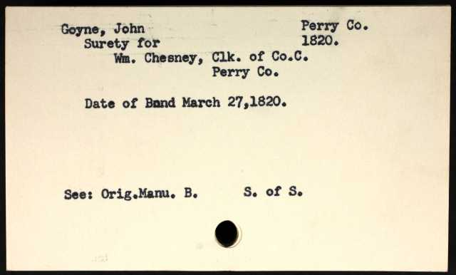 1820 Perry Co AL John Goyne surety for marriage of Wm Chesney