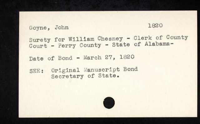 1820 Perry Co AL John Goyne surety for mrg of Wm Chesney p3