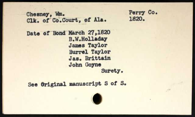 1820 Perry Co AL John Goyne surety mrrg Wm Chesney p2