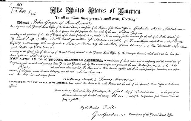 1823 Goyne, John in Perry Alabama Land Grant