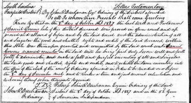 1827 Daniel Goin letters testamentary