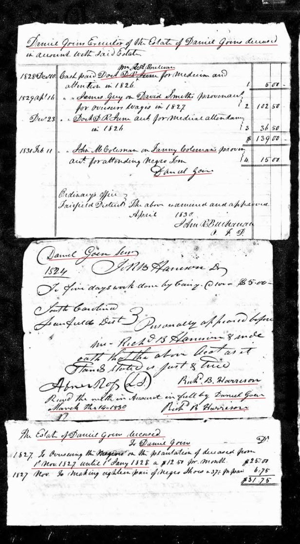 1827 to 1830 Daniel Goins accounting p1