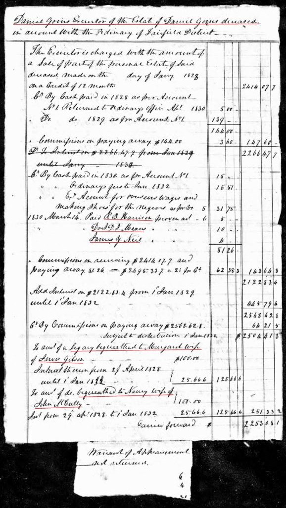1827 to 1830 Daniel Goins accounting p2