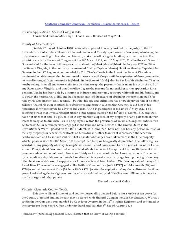 1828 Va Albemarle Co Sherard Goin rev war pens app_Page_1