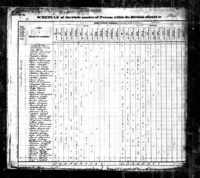 1830 IL Vermillion Co US Census Jacob Goins
