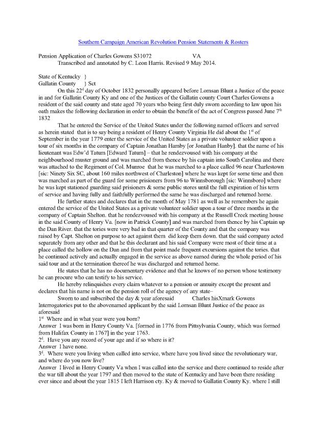 1832 KY Charles Gowens rev war pension app_Page_1