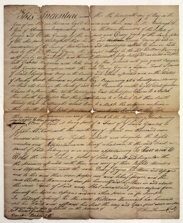 Goyne, Drury 1803 indenture in Wilkes County, Ga p1