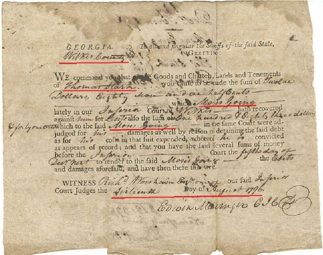 1796 Ga judgment for Moses Going against Thomas Starke p1