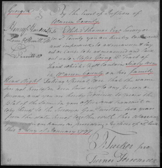 1797 Ga Moses Going land grant p1