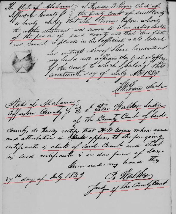 1829 Harrison W. Goyne affid in AL as Clerk snip