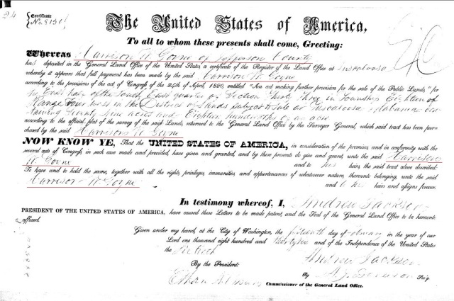 1836 Tuscaloosa AL land grant to Harrison W Goyne