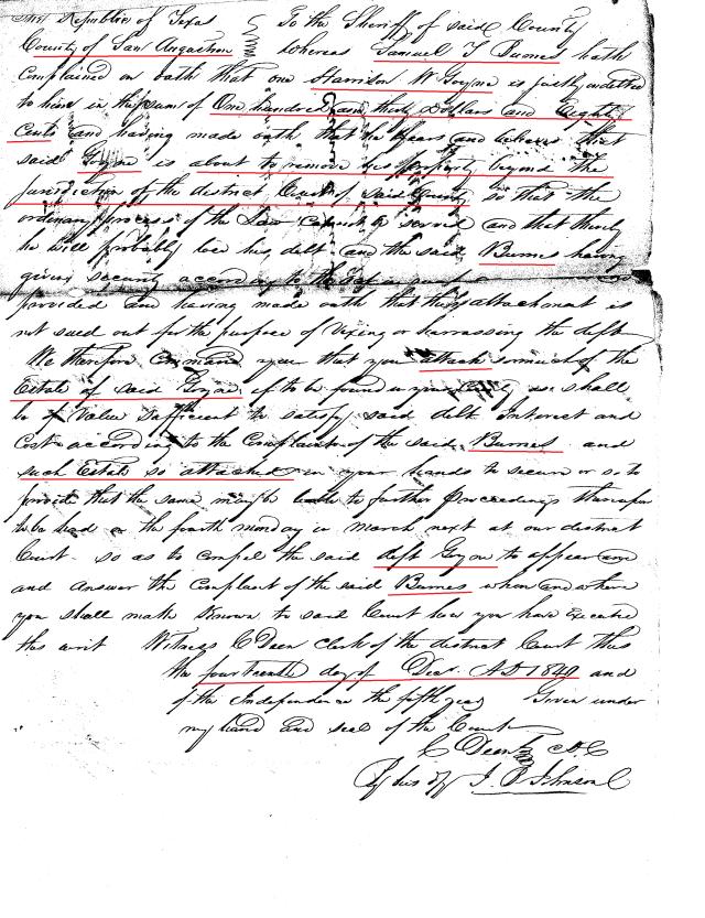 1841 Samuel Burns v Harrison W Goyne lawsuit 1841 San Augustine, Texas_Page_07