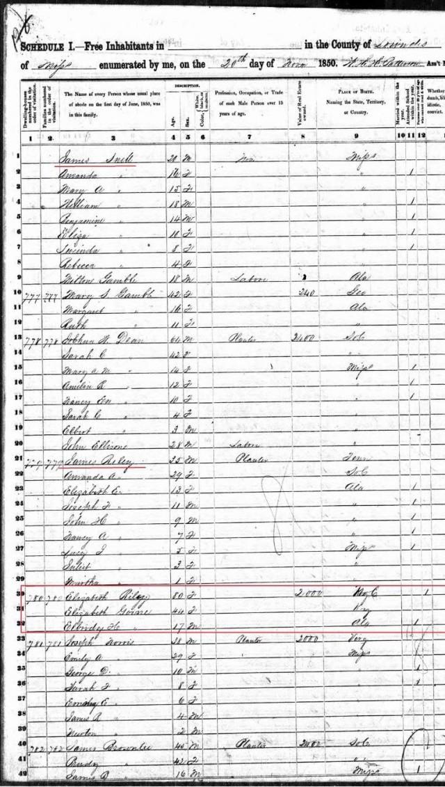 1850 US Census in Lowndes Co, MS w Eliz Goyne a E H Goyne and mom Eliz Riley