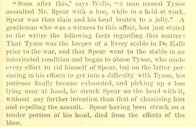 1851 Tyson killed Spear in stable with hoe